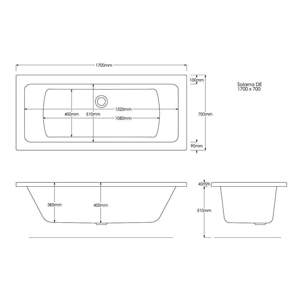 Trojan Solarna Reinforced Double Ended Bath 1700 x 700 Dimensions