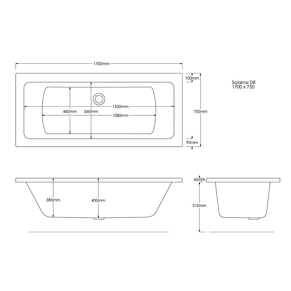 Trojan Solarna Double Ended Bath 1700 x 750 Dimensions