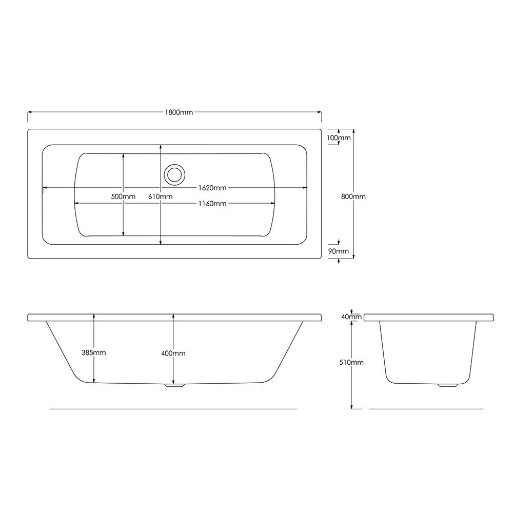 Trojan Solarna Double Ended Bath 1800 x 800 dimensions