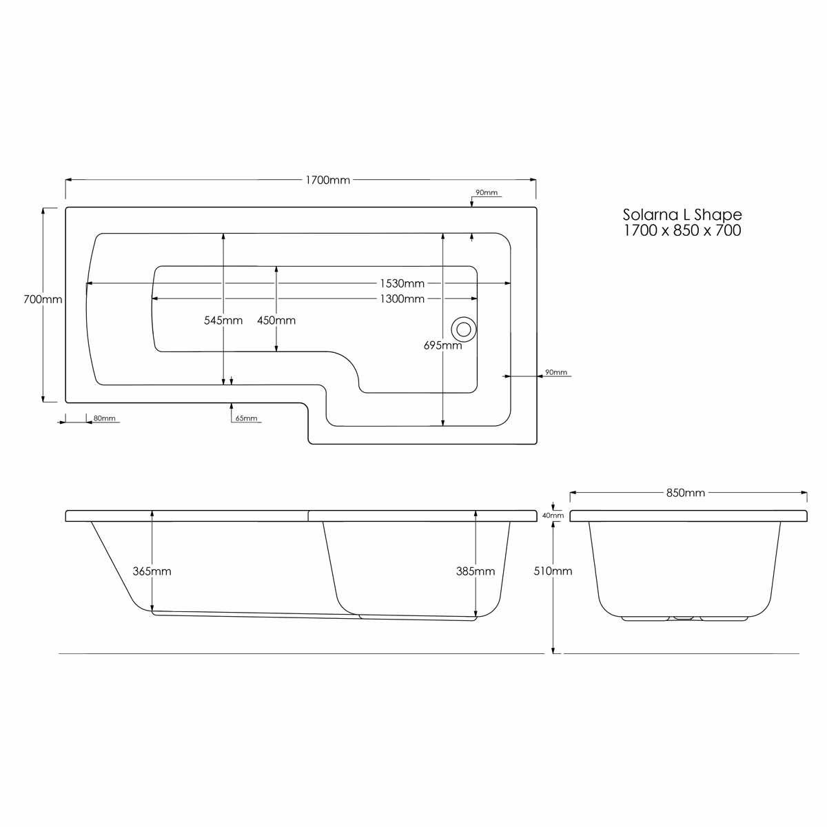 Solarna L Shape Shower Bath 1700 x 850 Left Hand Dimensions