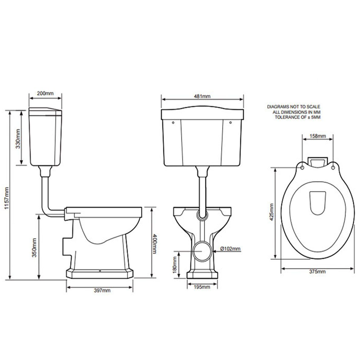 Tavistock Vitoria Low Level Toilet Including White Soft Close Seat Line Drawing
