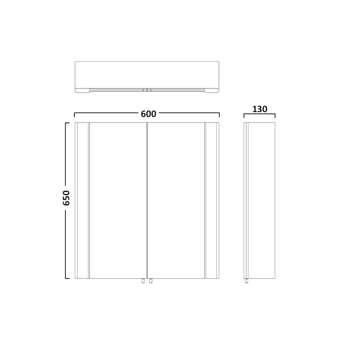 tavistock detail double door mirror cabinet 600 x 650