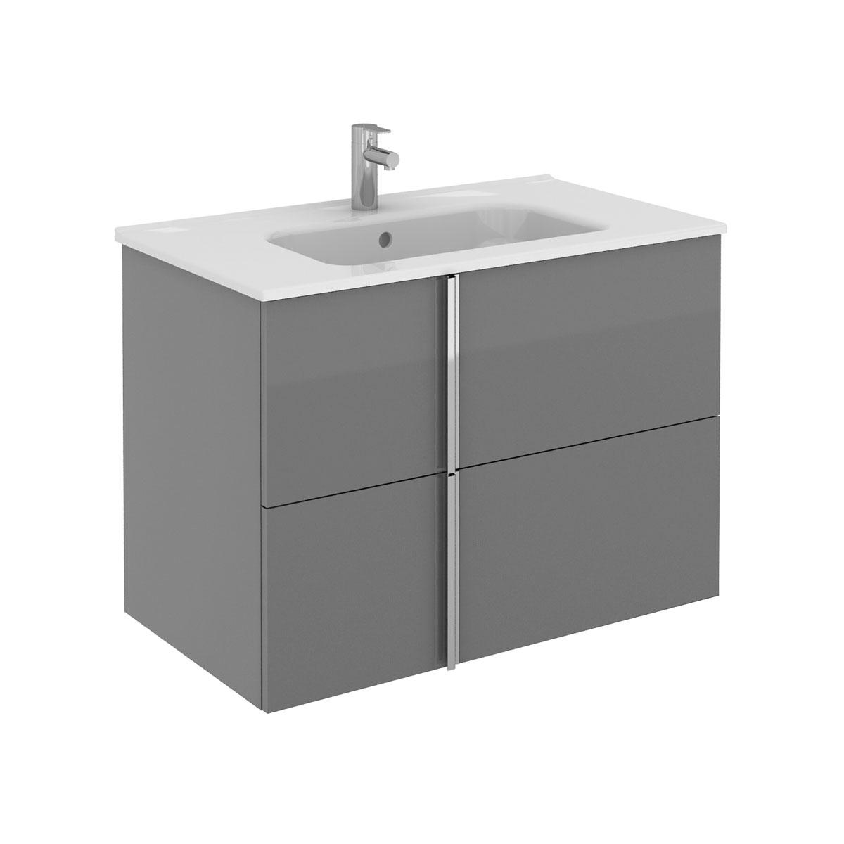 Royo Onix 2 Drawer Wall Hung Vanity Unit Basin Graphite 810mm