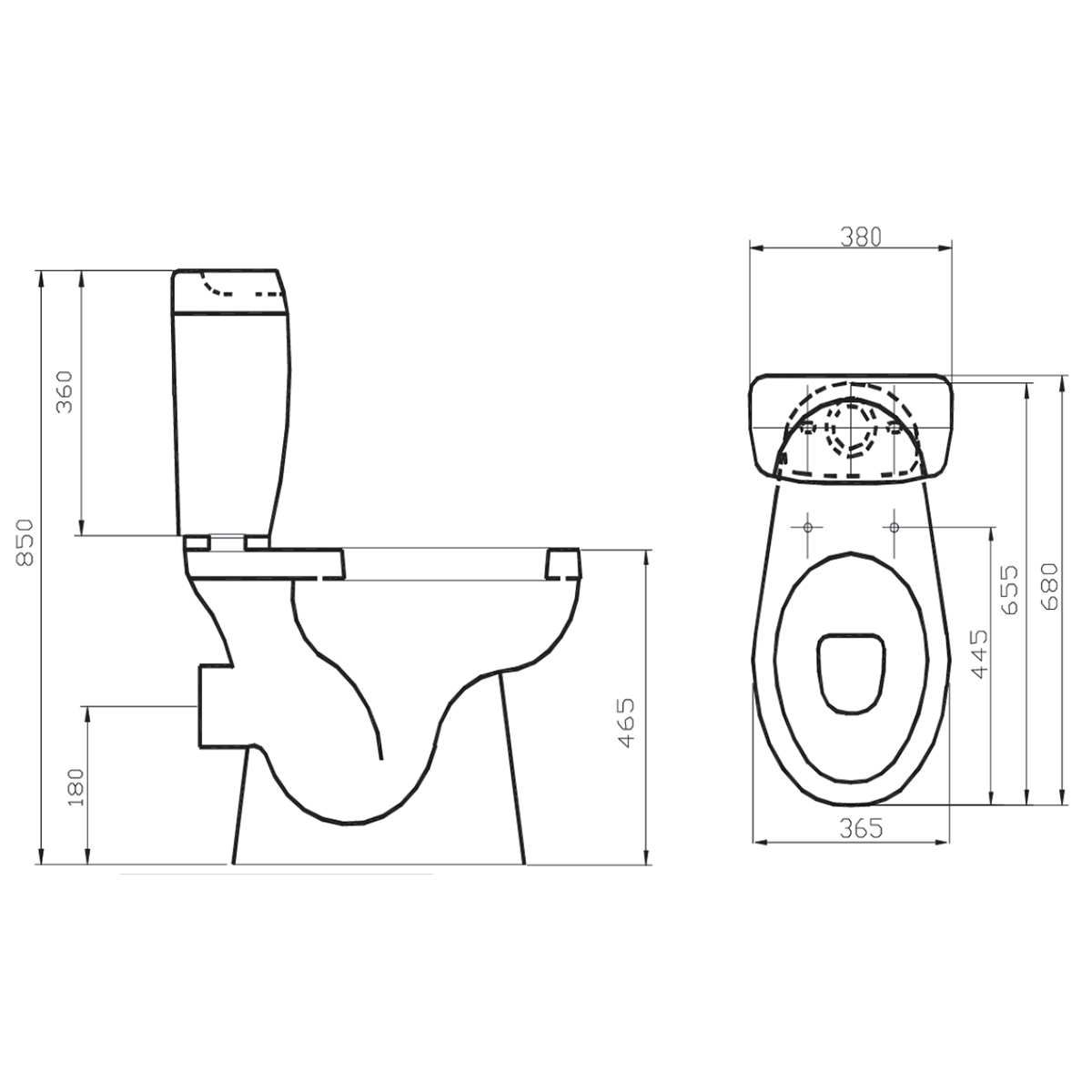 Orion Comfort Height Close Coupled Toilet With Soft Close Seat