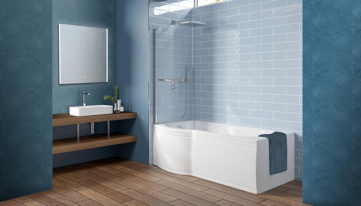 P Shape Shower Bath
