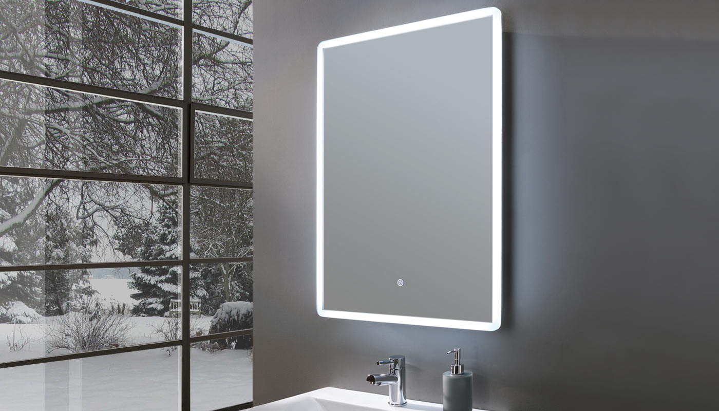 Elegance Ultra Slim Portrait LED Illuminated Mirror with Shaver Socket