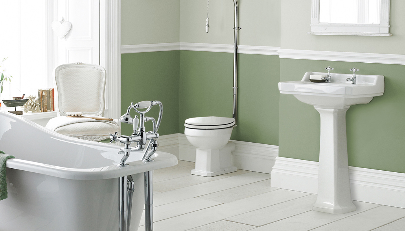 Sage green vintage style bathroom